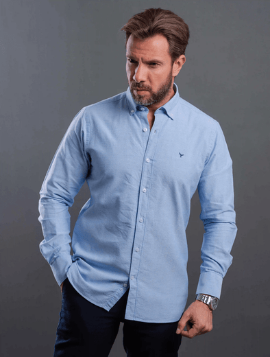 Plain long sleeve shirt-Light blue