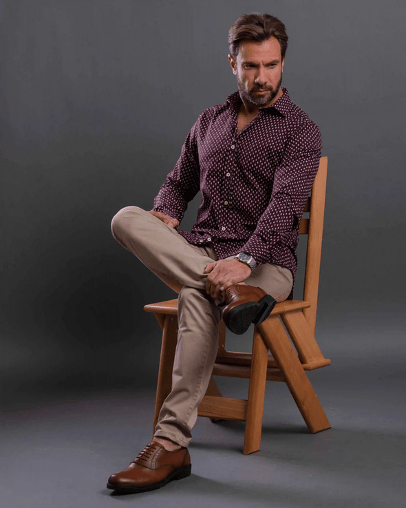 Patterned Casual Long sleeves Shirt-Wine