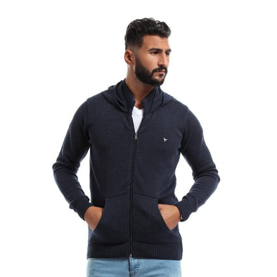 Zip Up Hoodie Knitted Cardigan-Darck Navy - Dockland