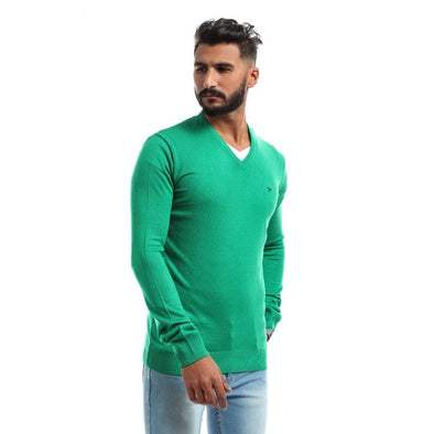 V-Neck Plain Sweater-Green - Dockland