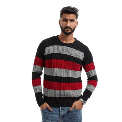 Textured Sweater With Stripes-Black - Dockland