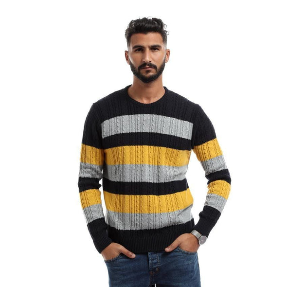 Textured Sweater With Stripes-Navy - Dockland