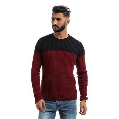 Textured Round Neck Sweater-Wine&Black - Dockland