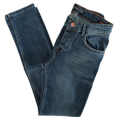 Slim Fit Casual Light Wash Jeans - Dark Blue Jeans - Dockland