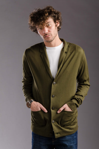lightweight knitted cardigan-Olive - Dockland