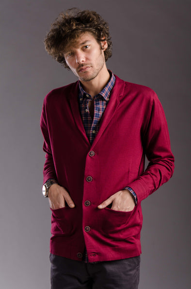 lightweight knitted cardigan-Wine - Dockland