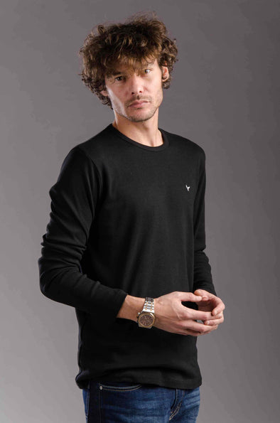 Plain Long Sleeves Round Neck Body-Black - Dockland