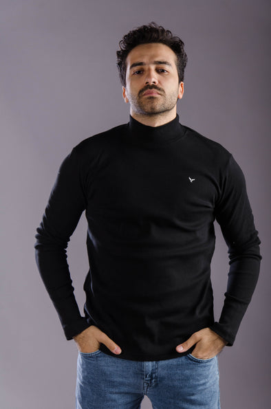Plain Long Sleeves High Neck Body-Black - Dockland