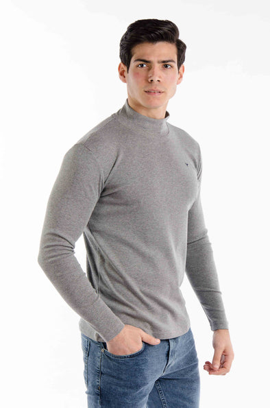 Plain Long Sleeves High  Neck Body-Grey - Dockland