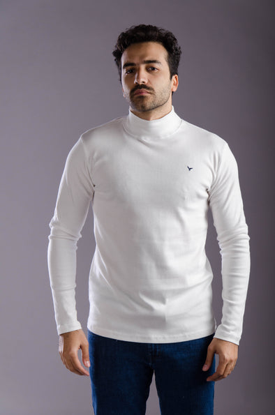Plain Long Sleeves High  Neck Body-Ecru - Dockland