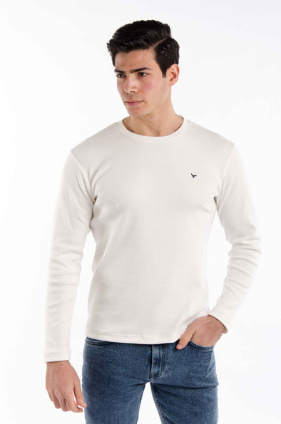 Plain long sleeves round neck body-Ecru - Dockland