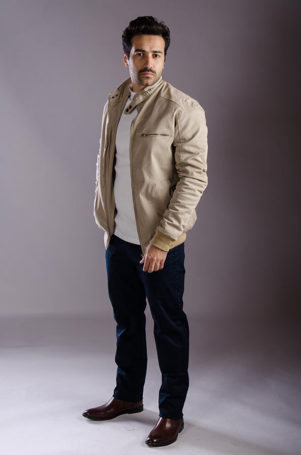 lightweight bouffant blended cotton jacket-Beige - Dockland