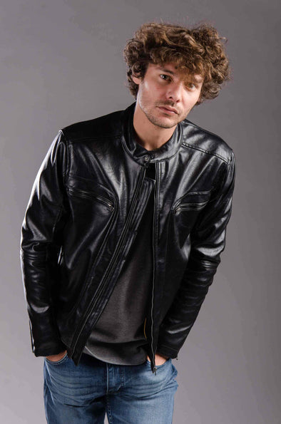 Faux leather full zipped jacket-Black - Dockland
