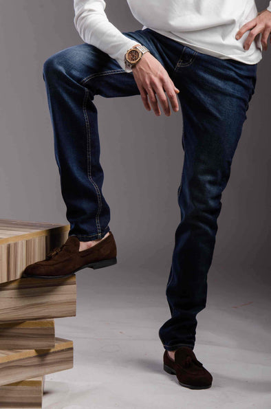 Slim fitted jeans-Darck wash - Dockland