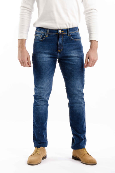 Washed slim fit jeans-Medium Wash - Dockland