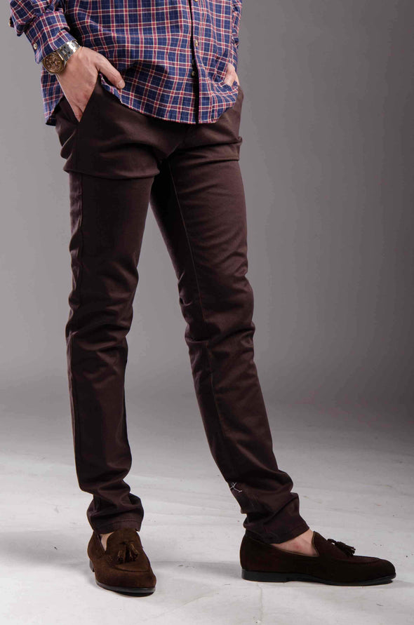 Chinos Zip fly-Brown - Dockland