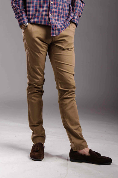 Chinos Zip fly-Camel - Dockland