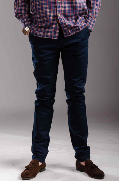 Chinos Zip fly-Navy blue - Dockland