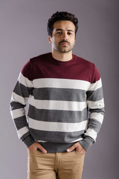 Round-neck striped sweater-Black*wine - Dockland