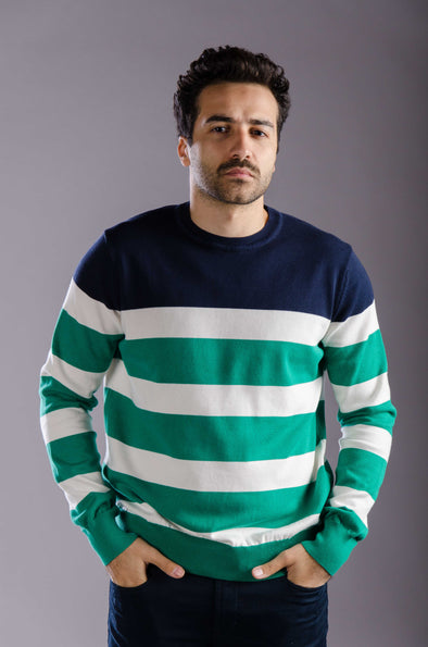 Round neck striped sweater-Ecru*Green - Dockland