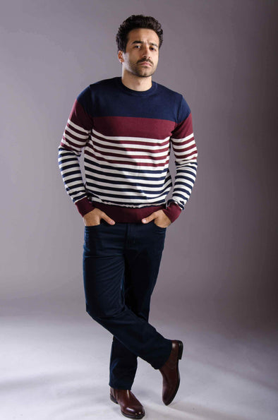 Round neck striped sweater-Wine - Dockland