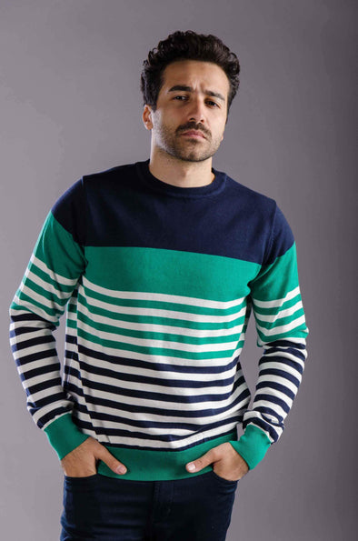 Round neck striped sweater-Green - Dockland