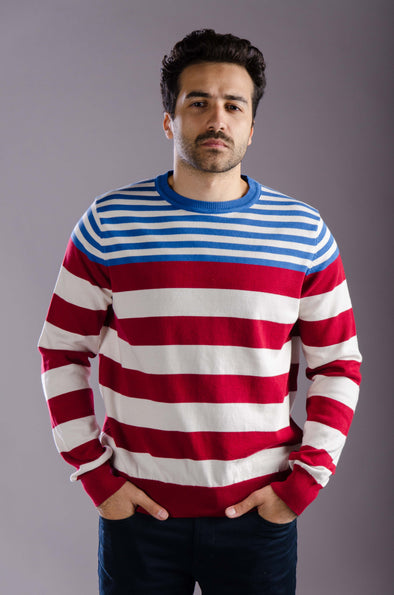 Round neck striped sweater-Blue - Dockland