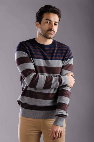 Round neck striped sweater-Navy - Dockland
