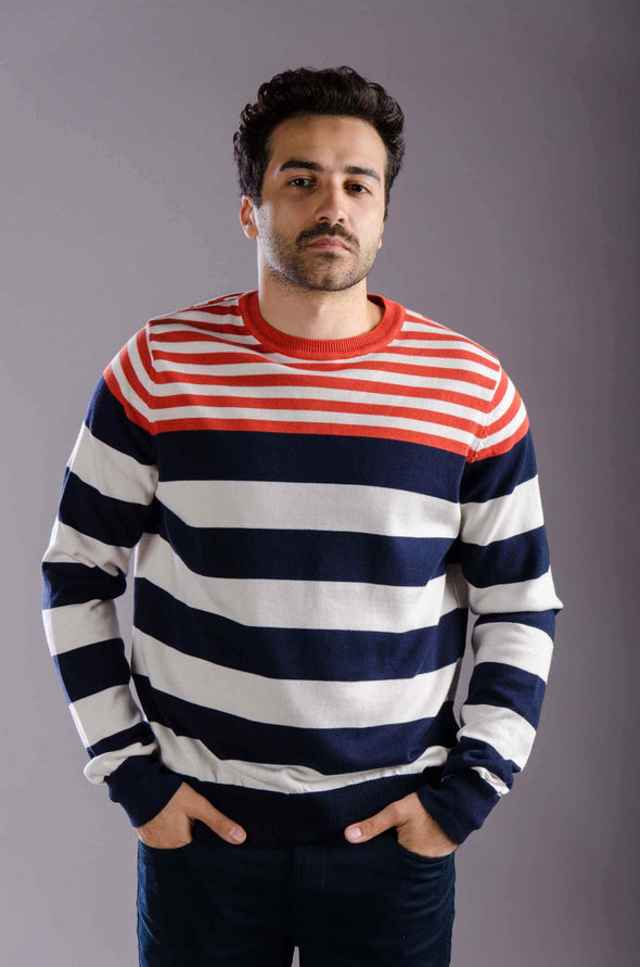 Round neck striped sweater-Orange - Dockland