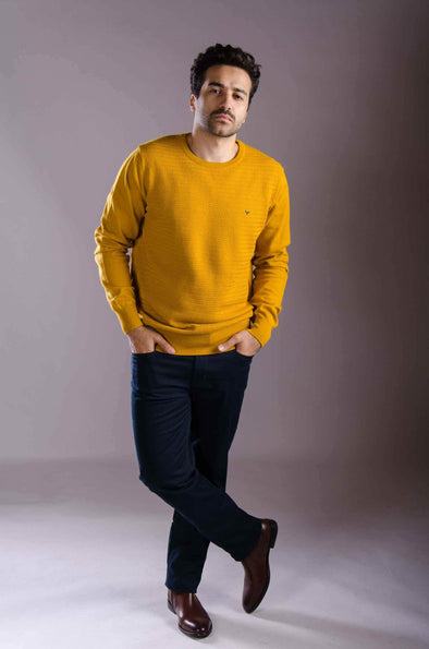 Rounded Neck Knitted Sweater-Camel - Dockland