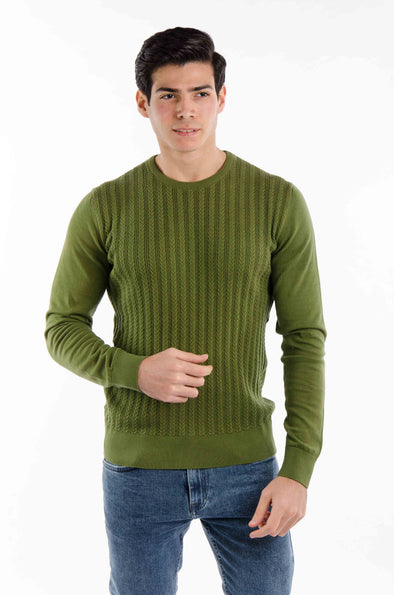 Classic-fit Knit Sweater-Olive