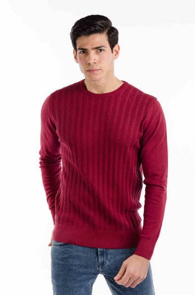 Classic-fit Knit Sweater-Wine