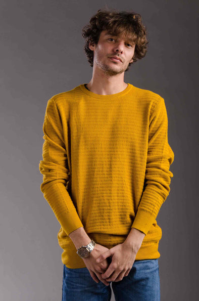 Textured Classic-fit knitted sweater-Bige - Dockland