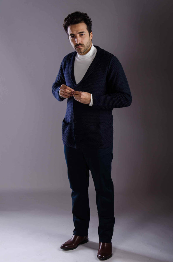 Textured Relaxed-fit Cardigan - Navy - Dockland