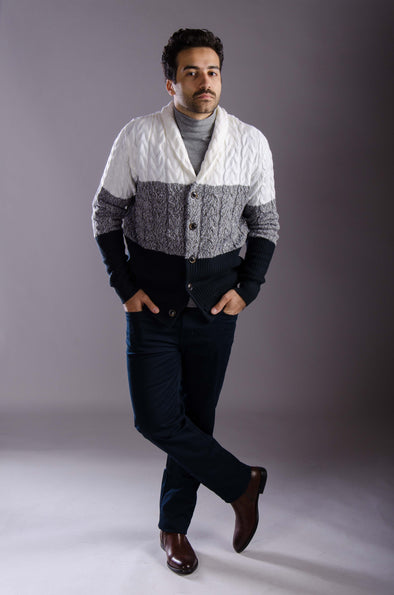 Textured cardigan-grey*navy - Dockland