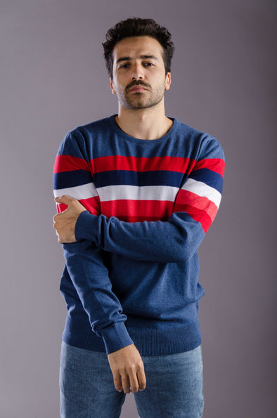 Round neck striped sweater-Bluefonse - Dockland