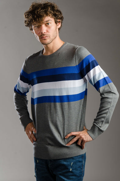 Round-neck striped sweater-Navy - Dockland