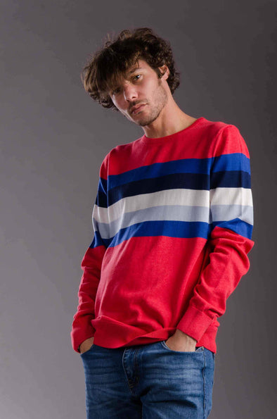 Contrast Striped Sweater-Red - Dockland