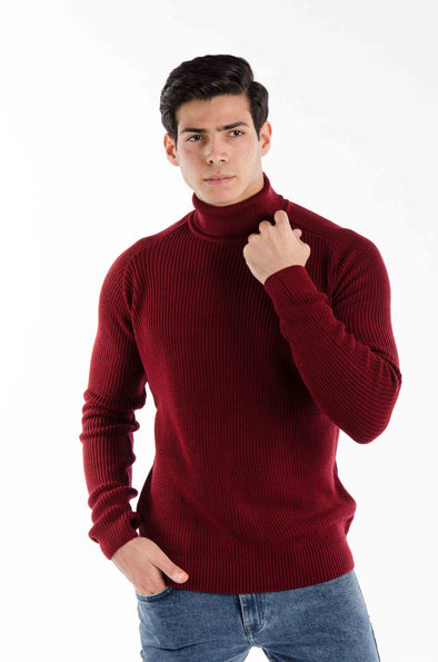 Turtleneck textured Sweater-Maroon