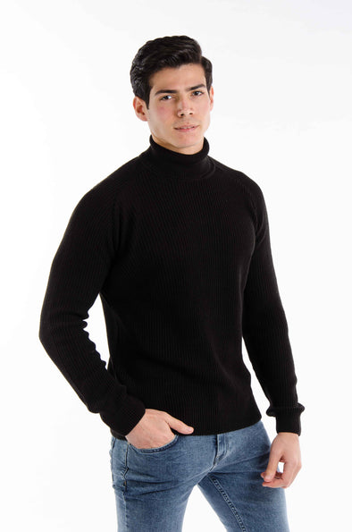 Turtleneck textured Sweater-Black