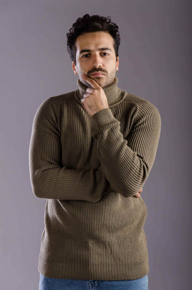 Turtleneck textured Sweater-KhaKi - Dockland