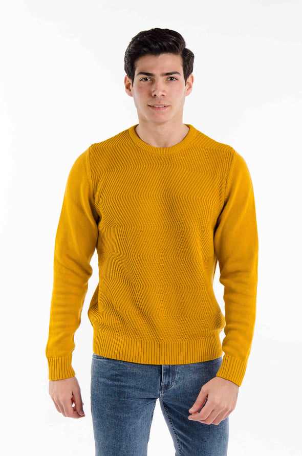 Fine Cotton Knitted Sweater-Camel - Dockland