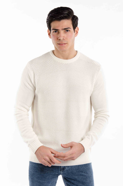 Fine Cotton Knitted Sweater-Ecru