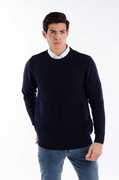 Fine Cotton Knitted Sweater-Navy - Dockland