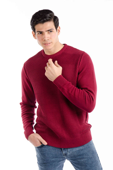Fine Cotton Knitted Sweater-Wine - Dockland