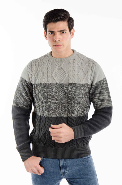 Textured Round Neck Cotton Sweater- Dark Gery