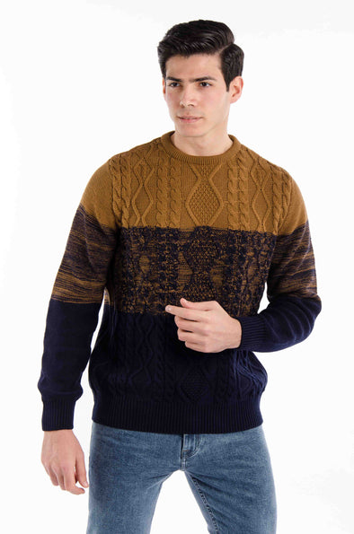 Textured Round Neck Cotton Sweater- Navy*Camle