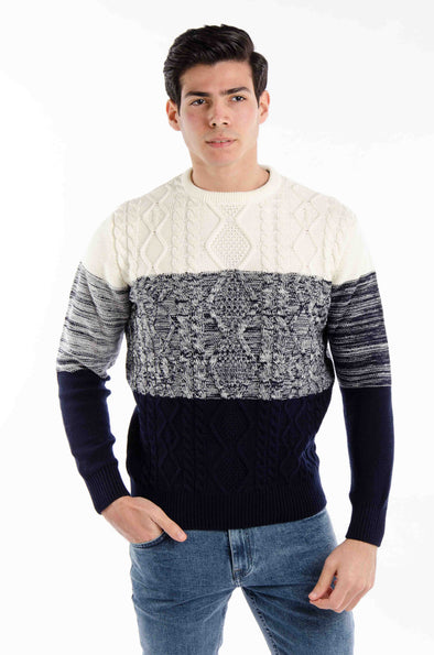 Textured Round Neck Cotton Sweater- Navy*Ecru