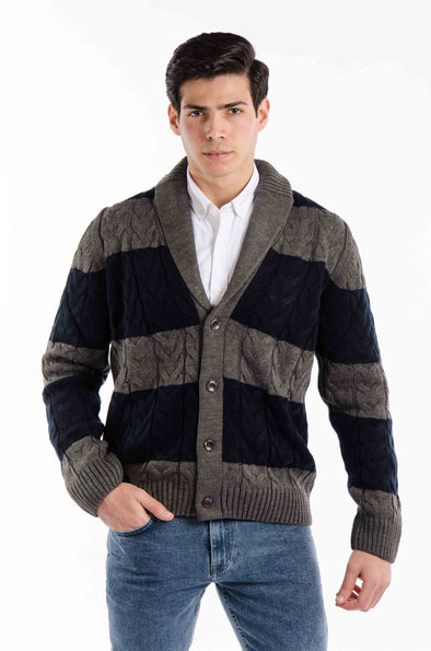 Textured Striped cardigan-Entrasde *NAVY