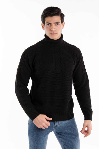 Textured Turtleneck Sweater-Black - Dockland